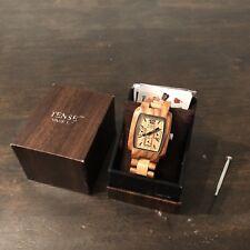 Tense Light 2 Tone Sandalwood Wood Watch Mens 3-Dial J8302SM