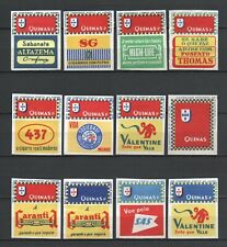 """Made in Portugal """"Quinas p"""" Complete Set of 12 Vintage Matchbox Labels Rare"""