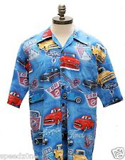 FORD TRUCK MULTI LOGO BUTTON DOWN CAMP SHIRT IN BLUE BY DAVID CAREY