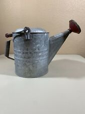 Vintage Galvanized Steel 2 Gallon Watering Can with Brass Rose Sprinkler Head