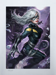 Alexandra Pascenko Sideshow Exclusive Spiderman Art Print Black Cat Marvel Comic