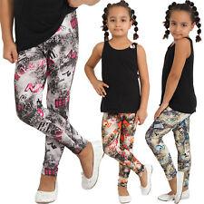 Kinder Leggins Hose Wake Up Buchstaben Leggings Streifen Grau Karo Mädchen