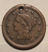 Lot E198 1851 1c Braided Hair Large Cent Fine Details