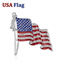 American USA FLAG Crystal Enamel Brooch Pin Lapel Costume Badge Patriotic Emblem