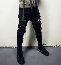 Mens Gothic Punk Cotton Harem Hip Hop Street Zip Baggy Jogger Trousers Pants