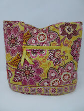 """Vera Bradley Women's Yellow Pink Cotton """"Bali Gold"""" Magnet Quilted Mini Tote Bag"""