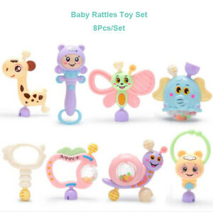 8Pcs/set Portable Baby Rattles Teether Shaker Grab and Spin Rattle Toy Set NEW