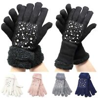 Womens Winter Snow Gloves Rolled Up Wrist Sleeve Warmer Thick Fur Knit Insulated