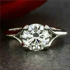 Wedding Rings 14K White Gold Certified 2.00Ct Round Cut Moissanite Engagement