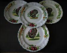 4 Italian Pottery HP Holiday Turkey Plates w Vegetable Rims - 3 Sets Available