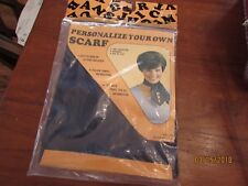 """New Vintage SCARF Navy Blue Personalize Your Own 22"""" Iron On Letters Made in USA"""