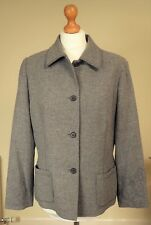 Jaeger Sz UK 14 Wool Cashmere Blend Tailored Boxy Jacket Grey Embroidery Detail