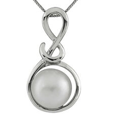 Sterling Silver rhodium plated pendant/chain with 11mm White mabe pearl.