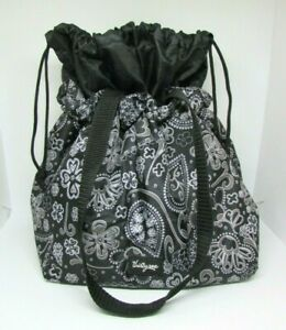 Thirty One CINCH IT UP Insulated Lunch Bag, Black Paisley