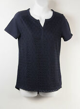 Rafaella Split V Lace Front Top Navy Blue S Small Lined Womens New