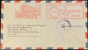 1953 Salvador meter Auto Palace on cover to US; meter, auto topical *d