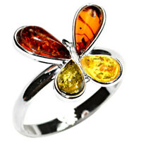 2.4g Authentic Baltic Amber 925 Sterling Silver Ring Jewelry N-A7232