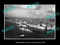 OLD LARGE HISTORIC PHOTO VALLETTA MALTA VIEW OF THE TOWN & HARBOUR c1945 1