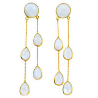 january sale 43.65cts natural rainbow moonstone gold chandelier earrings p75656