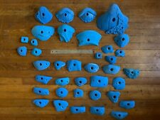 Lot of 30 Blue Climbing Holds plus 8 Feet. Jugs and Crimps