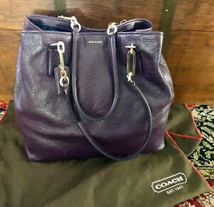 Coach Purple Large Eggplant Soft Side Pebbled Satchel Handbag Purse w/Dust Cover