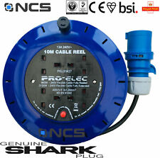 10m Camping Electric Mains Hook Up Reel Caravan Site Power Cable 16A Plug Lead