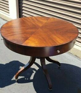 ethan allen round mahogany dining table dark wood
