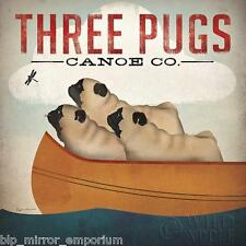 Three Pugs in a Canoe Poster by Ryan Fowler Wall Art Print