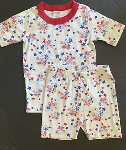 EEUC Boys 110 (5) Hannna Andersson Cotton Red/White/Blue STARS Fireworks Pajamas