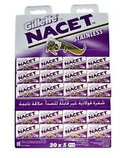 Gillette Nacet Stainless Double Edge Razor Shaving Blades for Safety Razors
