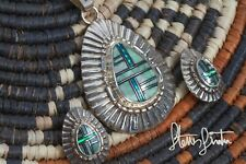Vintage Native American Signed Sterling Multi Stone Inlay Necklace & Earring Set