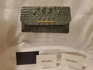 Brahmin Croc Jasper Green Leather wallet