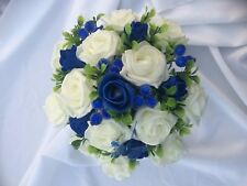 Bridesmaids Medium  Ivory & Royal Blue  Rose  & Berries Posy Bouquet