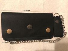 Genuine Leather Motorcycle Trucker Biker Chain Wallet inside Zipper Black color