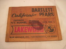 OLD WOOD-WOODEN SIGN PLAQUE BLUE ANCHOR BARTLETT PEARS PRODUCE FRUIT SIDE PANEL