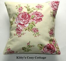 "16"" New Shabby Chic pink and yellow floral roses vintage fabric cushion cover"