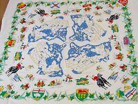 "VINTAGE "" SOUVENIR OF CANADA "" PRINTED CREAM RAYON/LINEN TABLECLOTH - UNUSED"