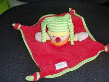 doudou plat clown lutin arlequin rouge vert SIMBA BABY