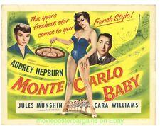 MONTE CARLO BABY MOVIE POSTER Original 1953 AUDREY HEPBURN HALF SHEET Size 22x28