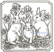 Easter Bunny Rabbit Square Wood Mounted Rubber Stamp Northwoods Stamp PP8996 New