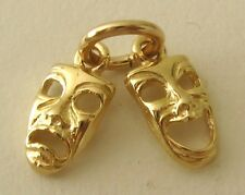 SOLID 9K 9ct Yellow Gold 3D COMEDY & TRAGEDY THEATRICAL MASK CHARM/PENDANT