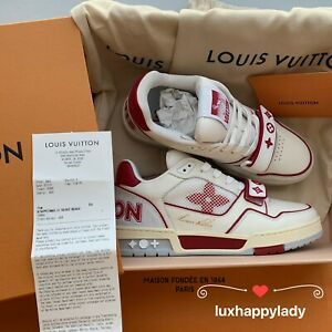 🔥LOUIS VUITTON LV Trainer Sneaker Leather Sneakers 6.5/ US 7.5 Red White RARE!