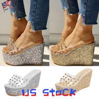 Fashion Platform Wedge Sandals Shiny Women Shoes Transparent Rivets Slippers US