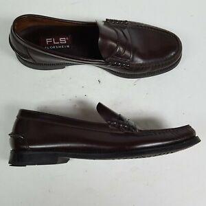 Florsheim FLS Berkley Burgundy Leather Moc Toe Penny Loafers Shoes Men Size 10 D