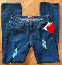 Apple Bottoms Women Blue Jeans Distressed Straight Embroidered Pockets  Size 7/8