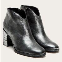 Frye Size 8.5 Nora Metallic Italian Leather Zip Bootie $298