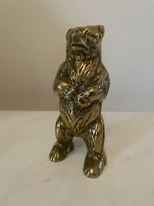 Vintage Collectable heavy brass grizzly bear money box, Victorian.good condition