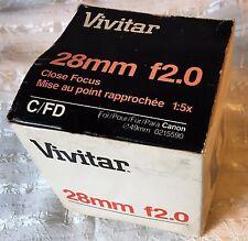 Vivitar Branded Komine 28mm f2 Close Focus C/FD Mount