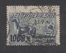 Germany Sc B7 used 1923 20 + 1000m surcharged Plower & Horse, sound & scarce