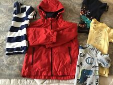BOYS DINASAUR 3/4 yrs TOPS x 3 + NEXT RED JACKET/1 RUGBY STYLE POLO SHIRT